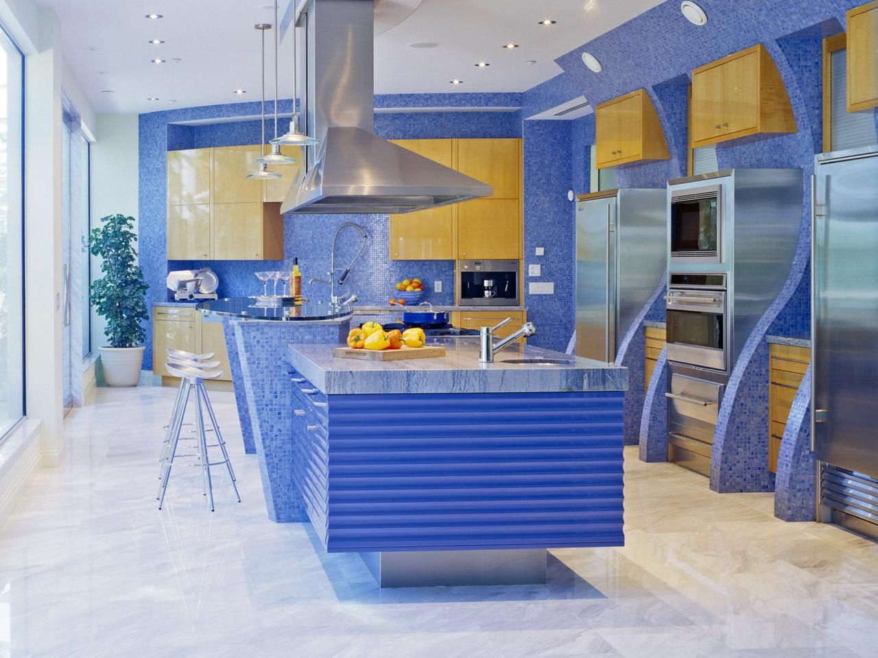 Best Colors to Paint a Kitchen: Pictures & Ideas From | Blue mosaic ...