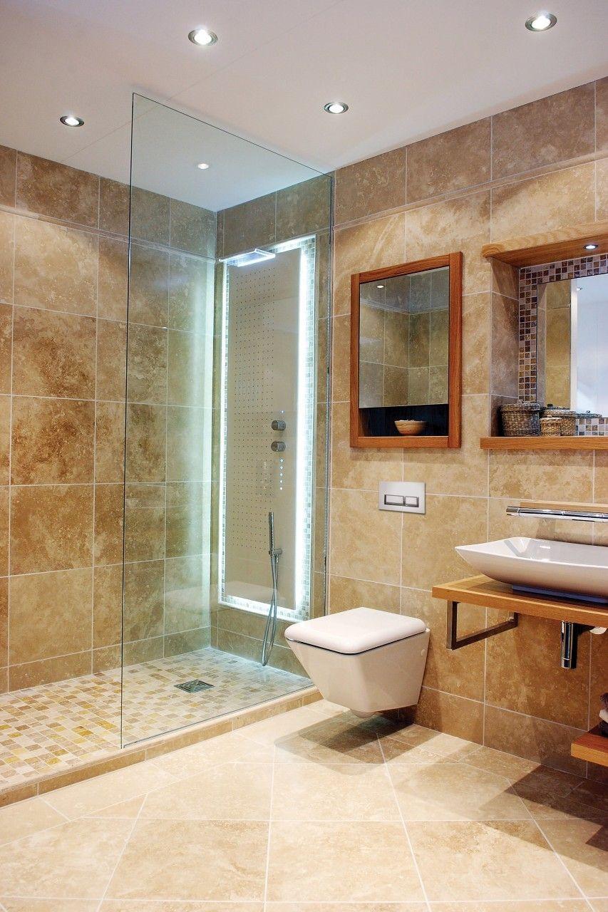 Marble Tile Bathroom Ideas Sample Tile Of Beige Travertine Mixed Marble Mosai Travertine Tile Bathroom House Bathroom Designs Interior Design Bathroom Small