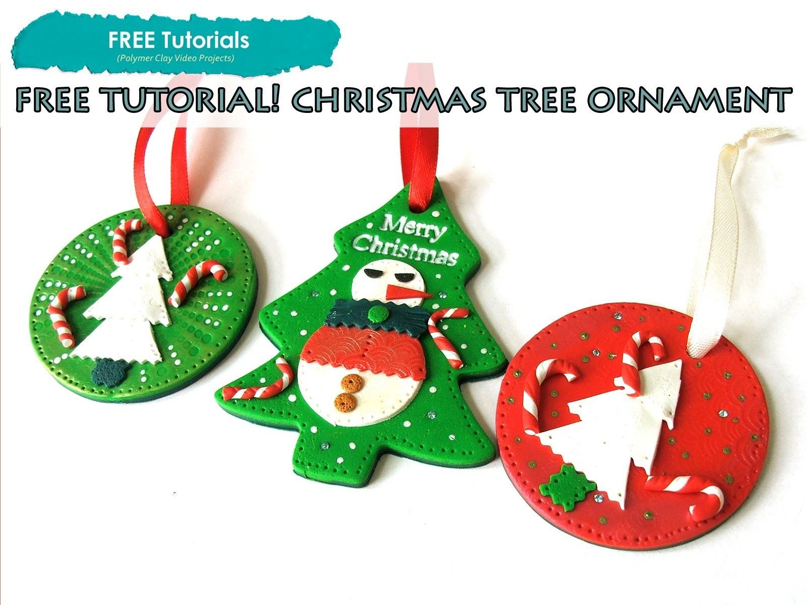 Polypediaonline Tv Free How To Polymer Clay Christmas Snoman Tree Ornaments Tutorial Polymer Clay Christmas Christmas Clay Ornament Tutorial