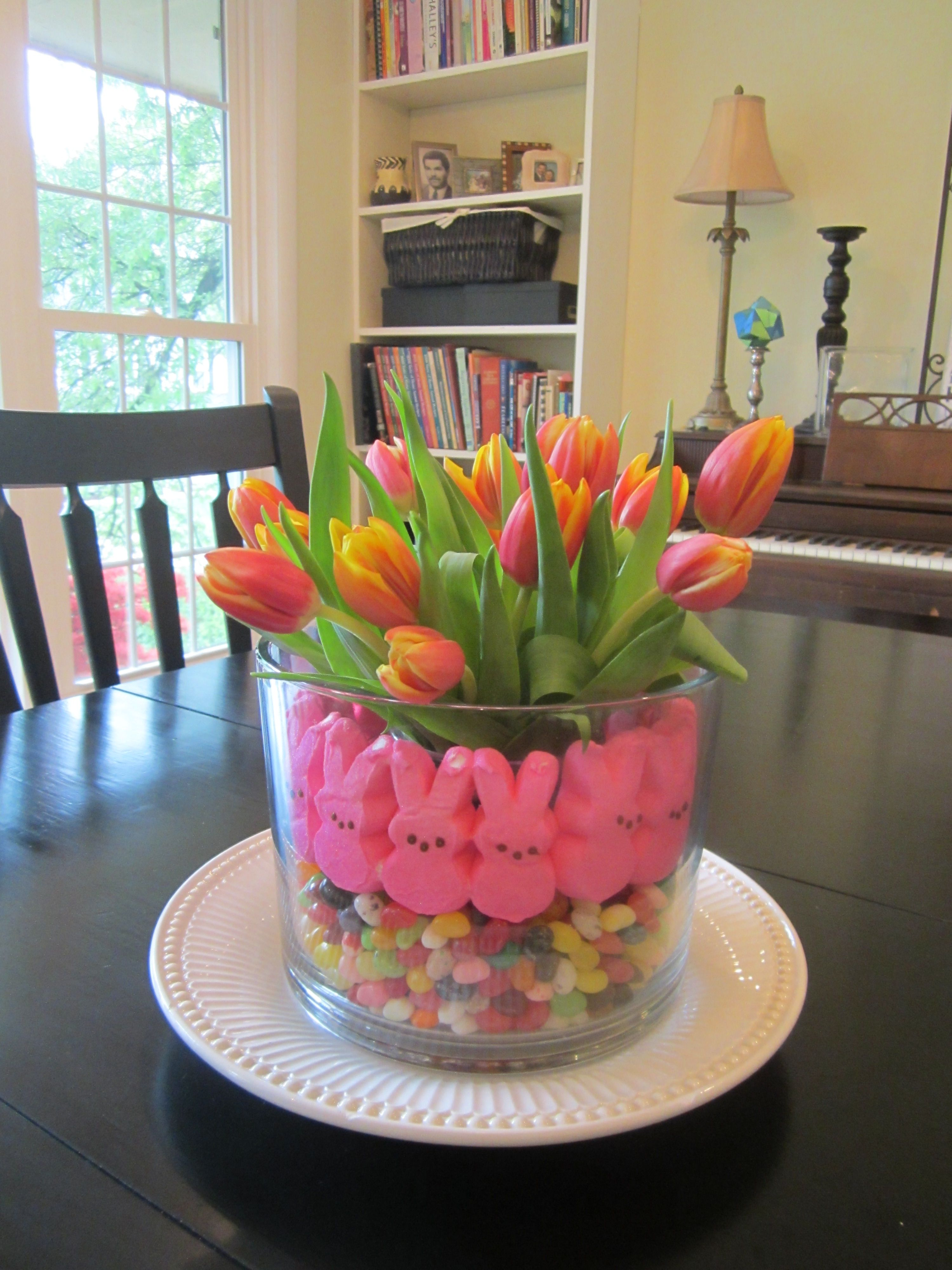 Centerpiece for acts easter dinner my pinterest for Easter dinner table decorating ideas