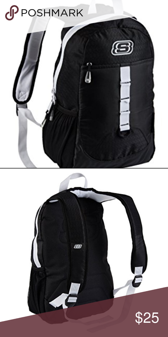 SKECHERS SPEEDWAY BACKPACK BLACK WHITE SKECHERS SPEEDWAY BACKPACK BLACK  WHITE Adjustable shoulder straps. Single top aeb83f4a8e