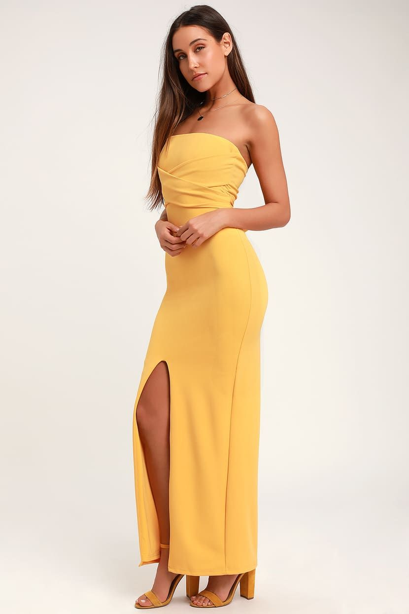 Own The Night Golden Yellow Strapless Maxi Dress Tight Yellow Dress Dresses Tight Dresses [ 1245 x 830 Pixel ]