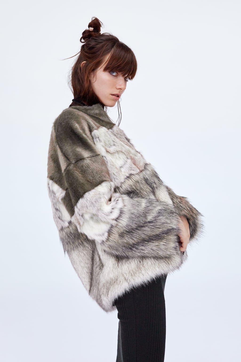 Contrasting faux fur jacket Faux fur jacket, Fur jacket