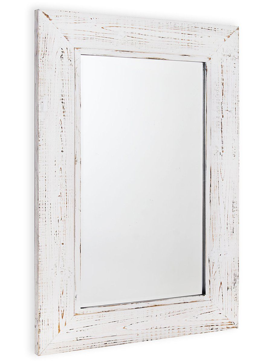 Dakota 32 White Distressed Mirror Distressed Mirror Mirror Wood Mirror