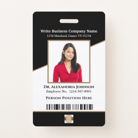 Business Employee Bar Code Logo Id Identification Badge Zazzle Com Employee Id Card Business Company Names Company Id