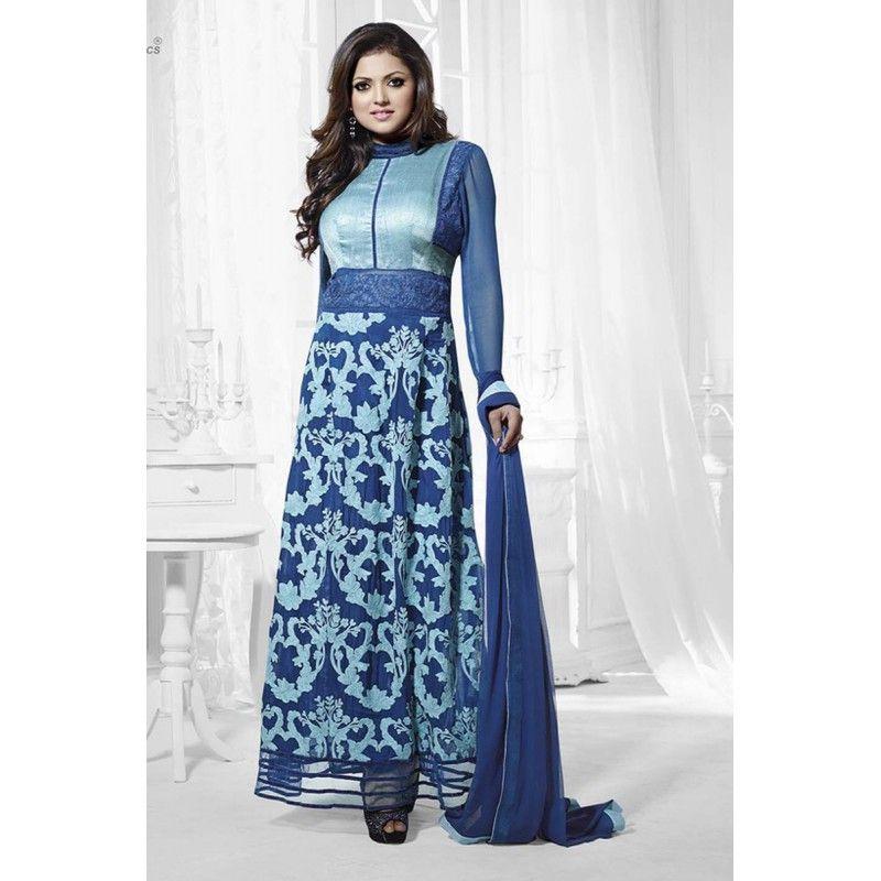 Designer Blue Embroidered Georgette Party Wear Salwar Kameez - JOM28SK13301 ( Jom-9900-J9900 )
