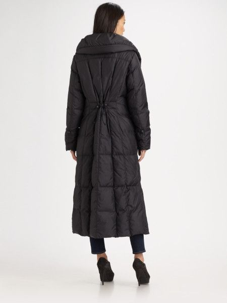 Women's Black Full-length Quilted Puffer Coat | Cole haan, Coats ...