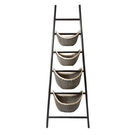 With 4 woven rattan baskets, this charming etagere is perfect for displaying an array of faux florals in the living room or stowing out-the-door essentials i...