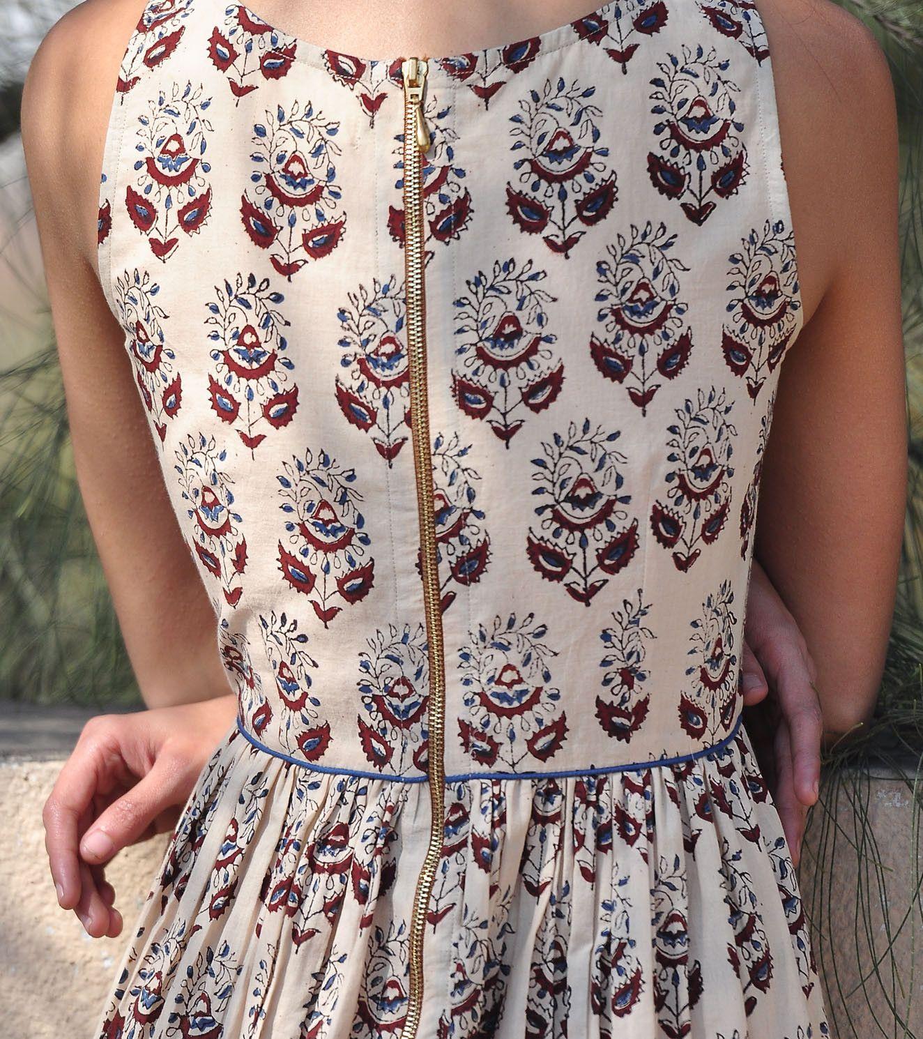 Paisley print fit and flare maxi kharakapas fusion wear