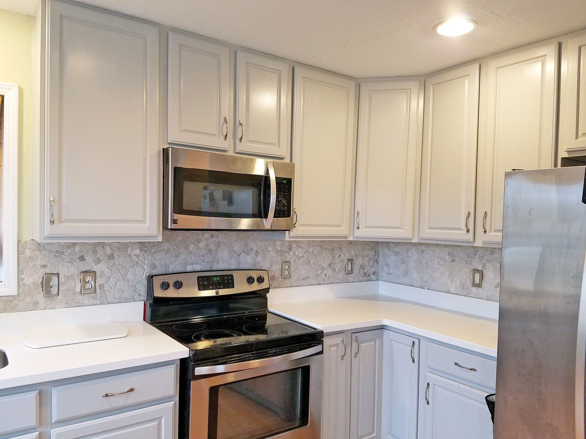 Seagull Gray Kitchen Cabinet Makeover Finish Kitchen Cabinets Kitchen Cabinets Makeover Milk Paint Kitchen Cabinets