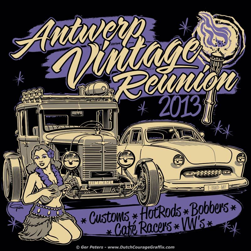 Commissioned T-shirt artwork for Antwerp Vintage Reunion 2013. In case you're wondering: Car in front of the Shoebox is a 1929 Citroën AC 4 with a tractor nose. #car #show #vintage #reunion #event #tshirt #artwork