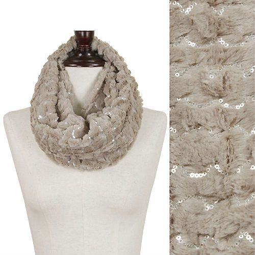 Sequined Fur Infinity Scarf