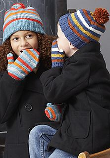 Knit cozy hats and mittens for the whole family in the round in Patons Canadiana. (Patons Yarns)