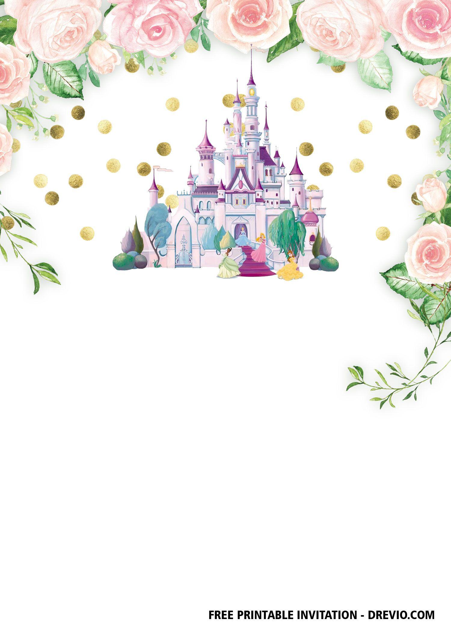 free printable pink castle invitation