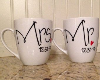 Mr And Mrs Wedding Coffee Mugs Personalized With Date