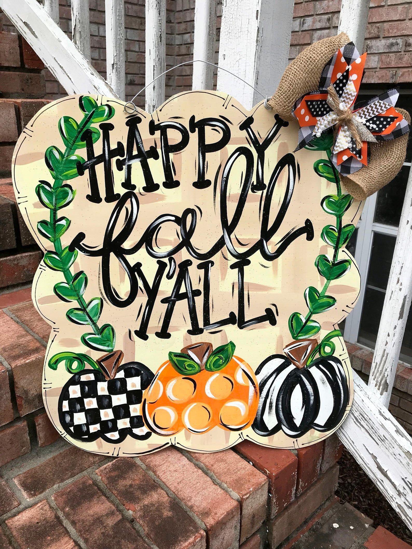 HEY THERE Pumpkin Autumn SIGN Wall Door Hanger Plaque