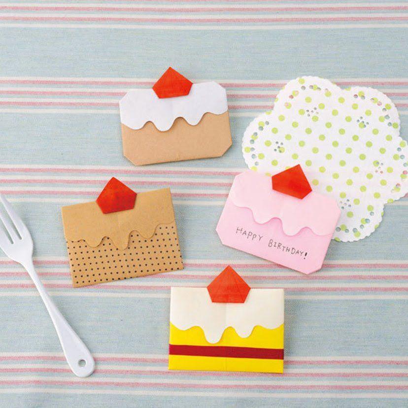 折り紙 お手軽 かわいいショートケーキのお手紙の折り方 ぬくもり Origami Crafts Creative Origami Paper Crafts Origami