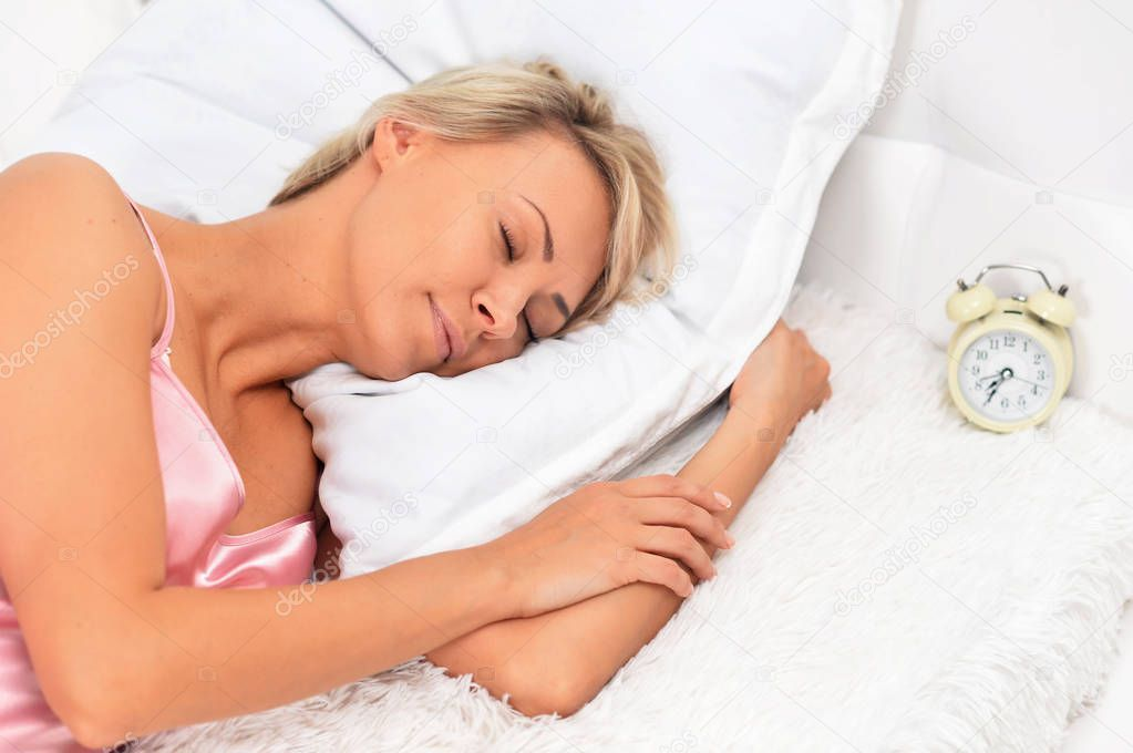 Young Woman Sleeping Bed Home Stock Photo Ad Sleeping