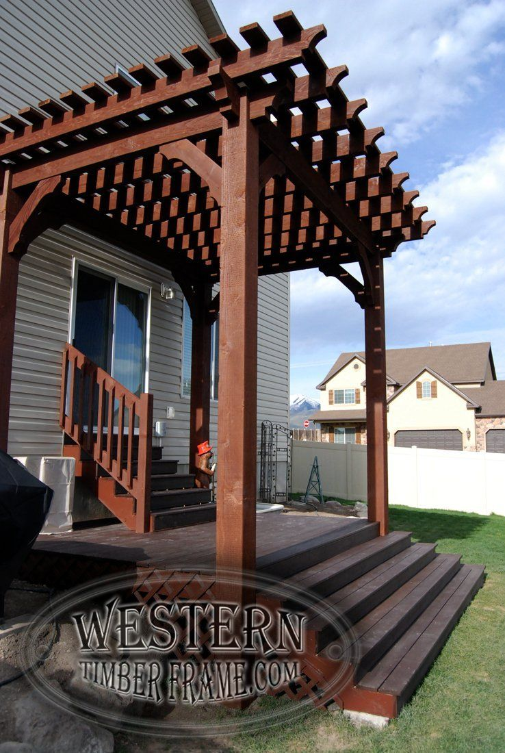 Free Standing Pergola With Rich Cordoba Stain And Crescent Step Profile.  Trex Deck And Stairs