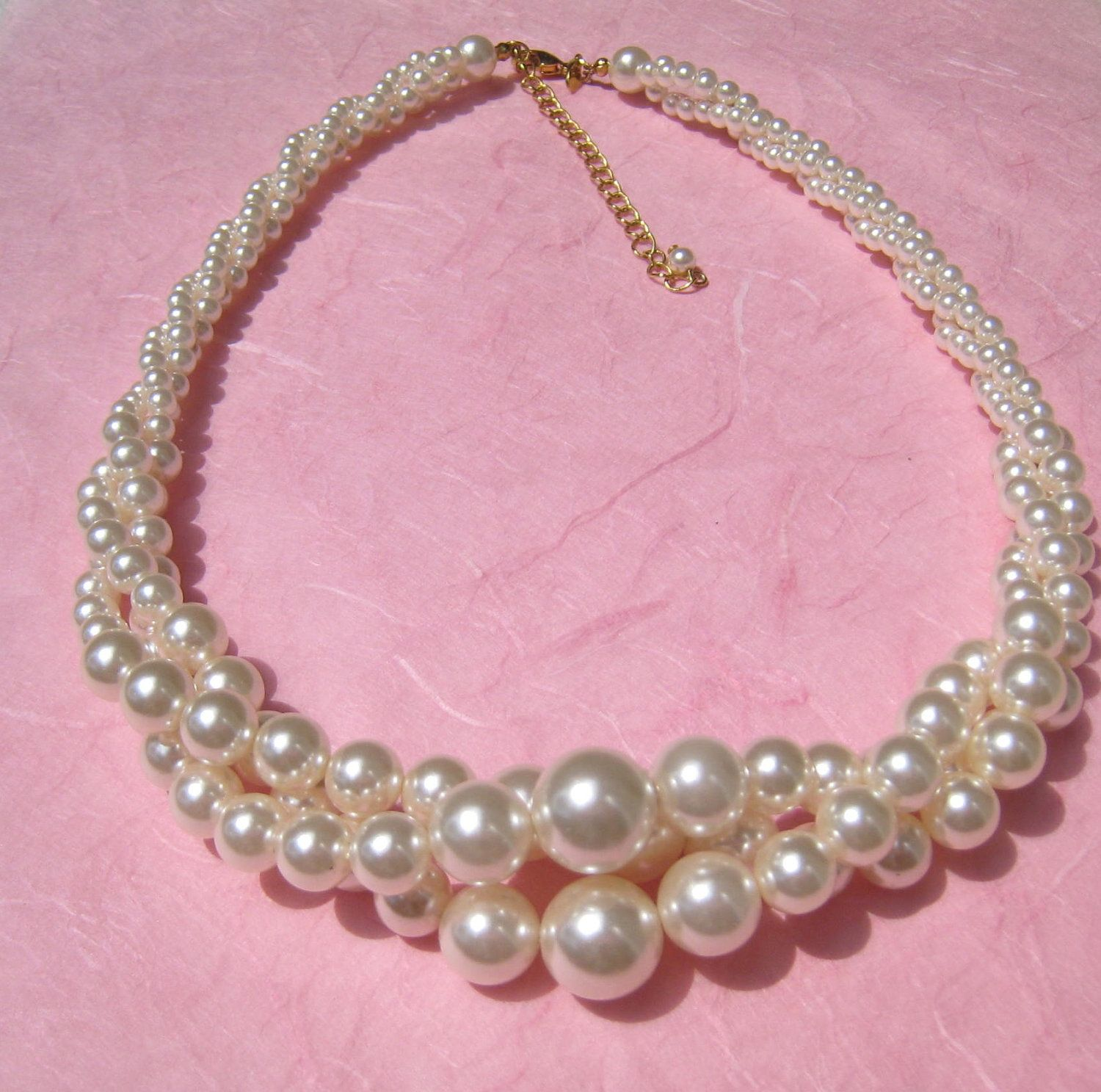 Three Strand Twisted Vintage Faux Pearl Necklace signed RMN