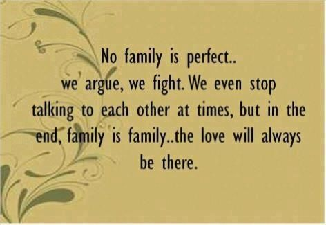 No family is perfect... we argue, we fight. We even stop