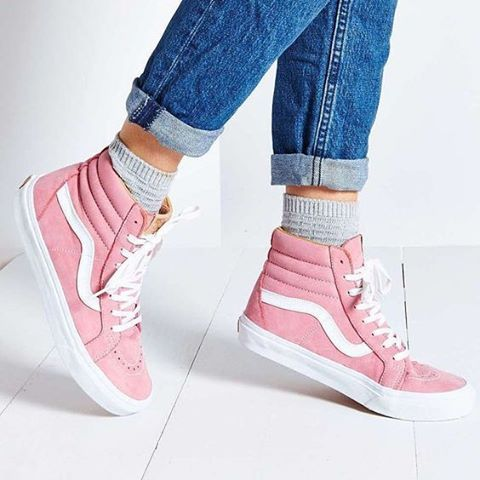 pink vans high tops | Pink hightop vans, Vans sk8 hi outfit