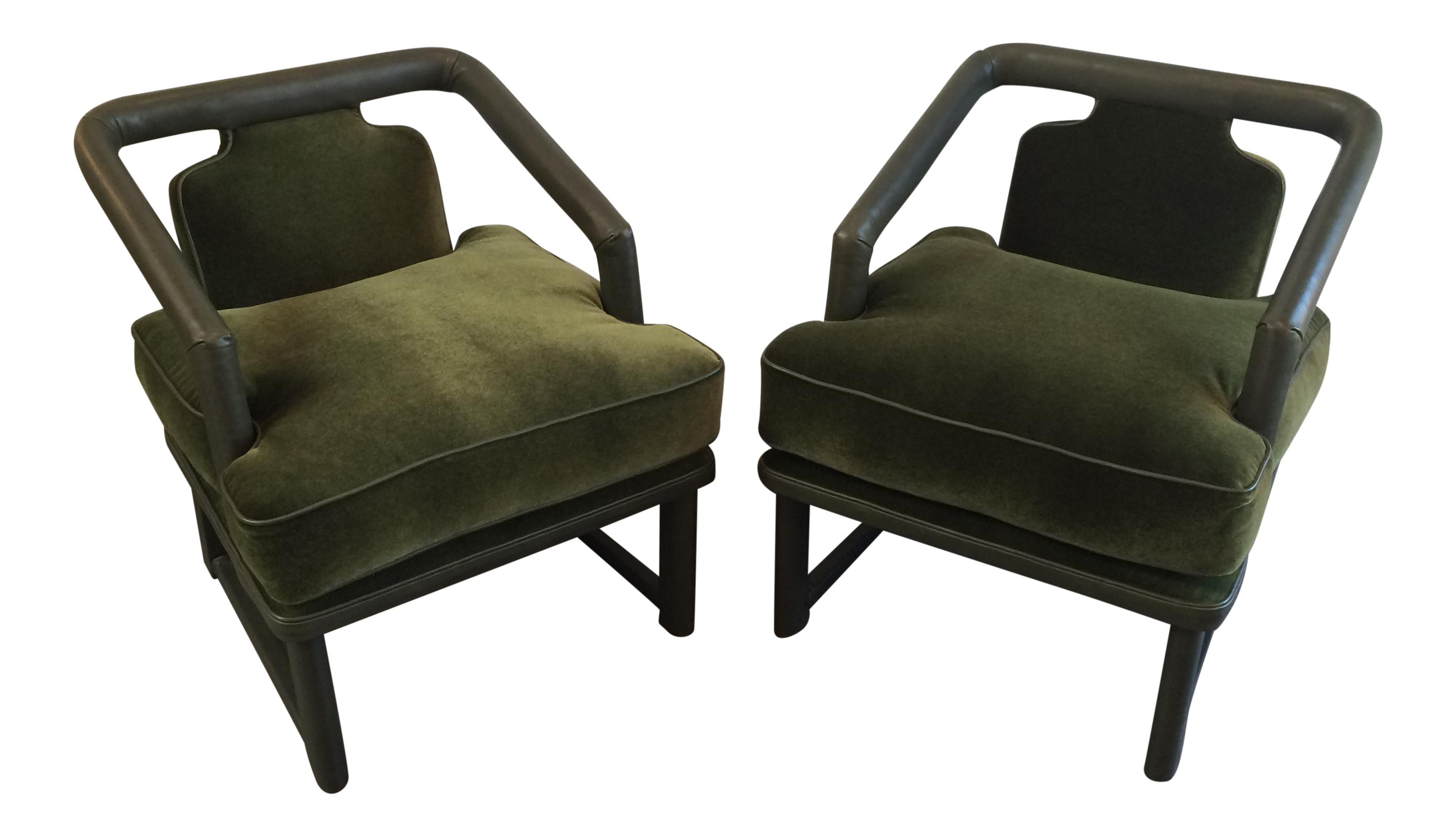 Unusual Pair Of Newly Upholstered Lounge Chairs With Green Leather Wrapped Frames And Seat Cushions Of Mohair With Green Leather Chair Chair Tan Leather Chair