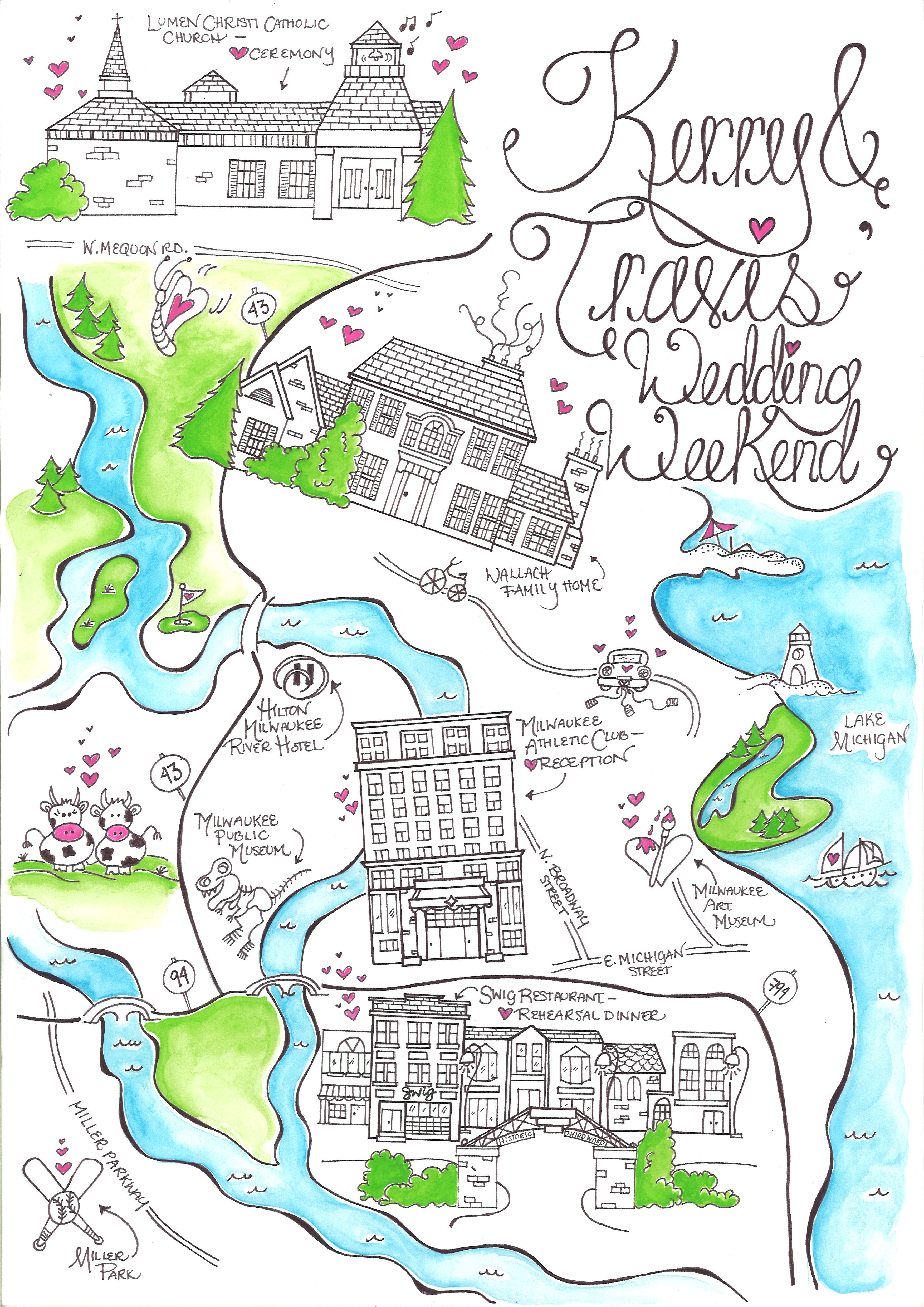 Milwaukee Wedding Map - Custom map, made-to-order! Each map is hand ...