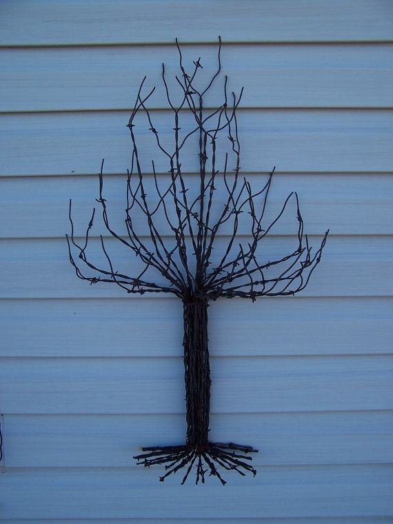 Wall Sculpture Christmas Tree Made From Recycled Barb Wire ...