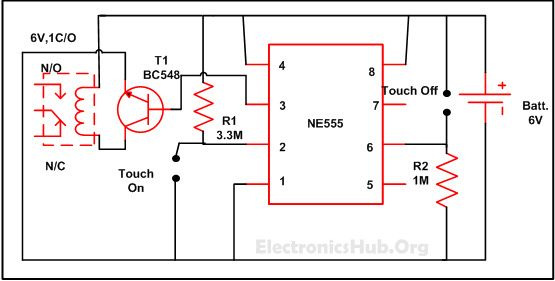 Touch ON and OFF Switch Circuit Diagram and Working