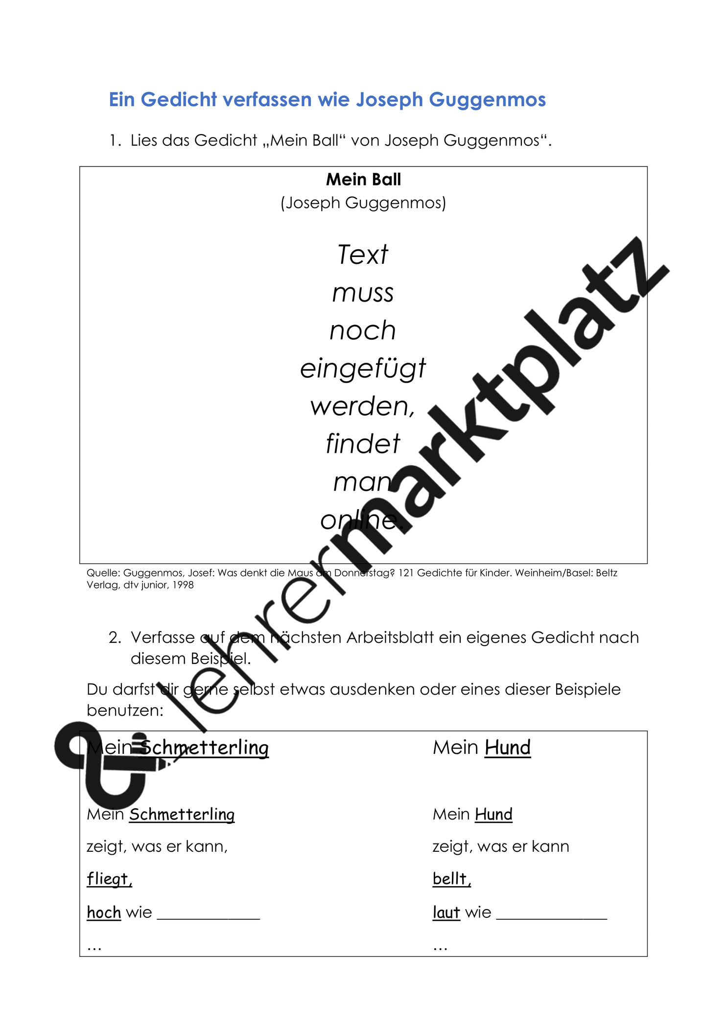 Deutschunterricht Joseph Guggenmos Mein Ball Download Deutsch Unterricht Unterrichtsmaterial Und Lesen