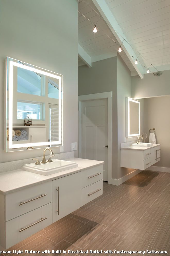 Bathroom Light Fixture With Built In Electrical Outlet With Contemporary  Bathroom, Kitchen Lighting From Bathroom Nice Ideas