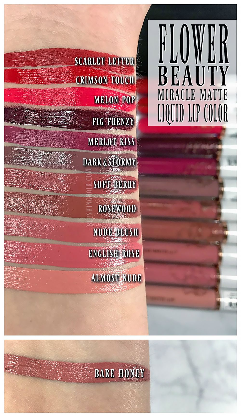 Flower Beauty Miracle Matte Liquid Lip Color Swatches