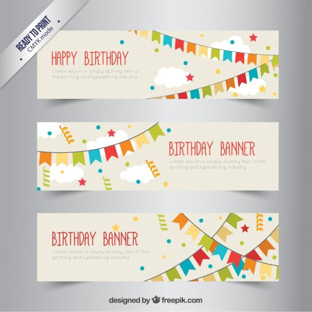 birthday banners with bunting free vector logo pp pinterest