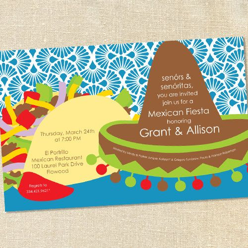 a4e07587f9e1f451e56d1a35d7f7e639 sweet wishes bright mexican fiesta taco party invitations,Taco Party Invitations