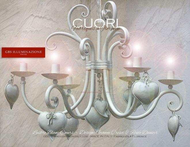 Lustre blanc c urs gbs fer forg lustre en fer forg blanc avec c urs pour gayer la chambre - Lustre pour chambre ...