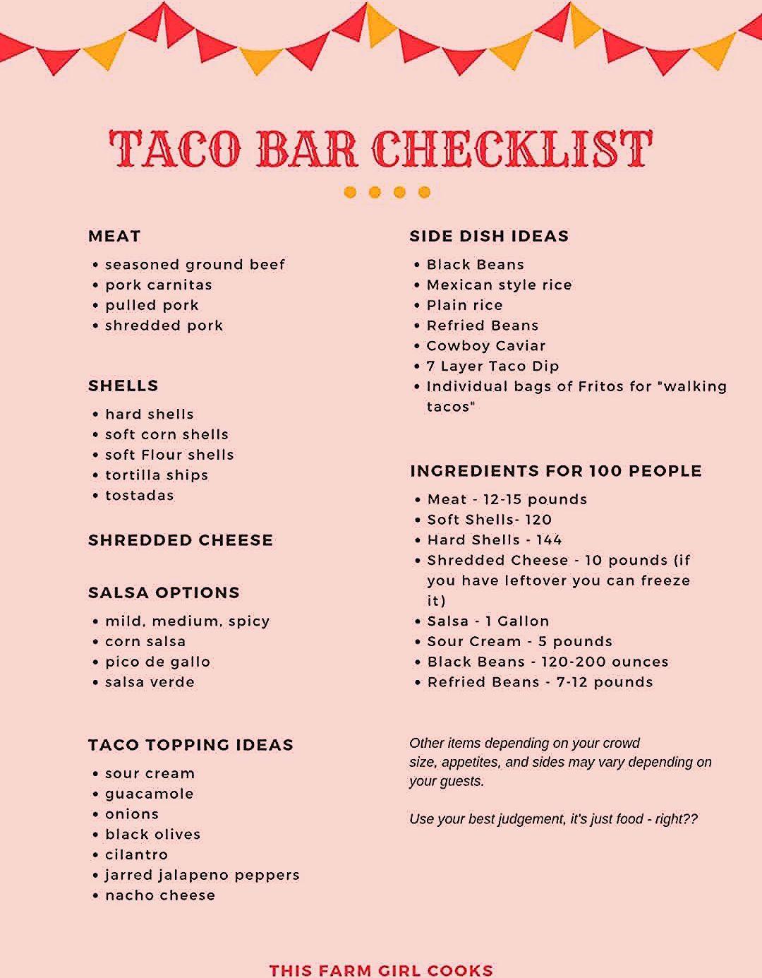 Taco Bar Checklist + How to Plan A Taco Bar Party