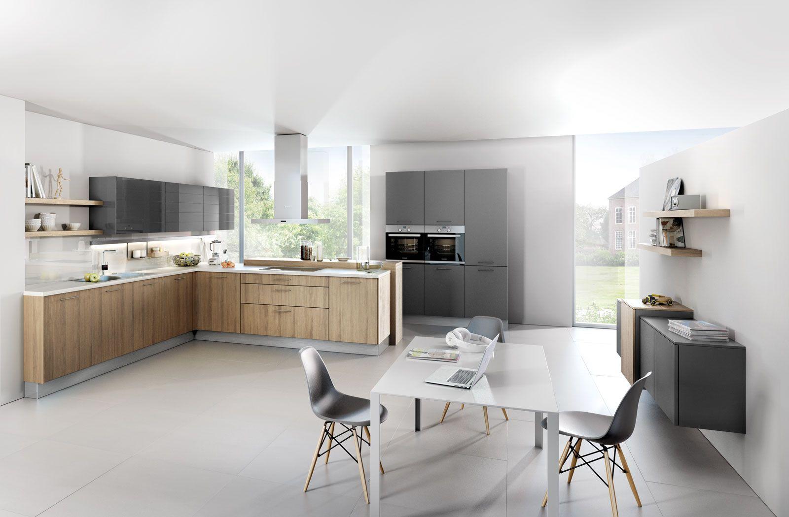 5083 gl | 4030 gl | pinie-dunkel furnier / lichtgrau hochglanz ... - Häcker Küchen Preisliste
