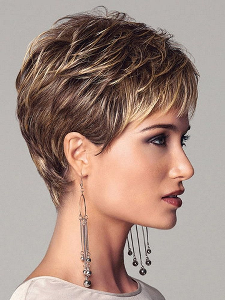 New ing 2016 highlights blonde short female haircut puffy straight peluca