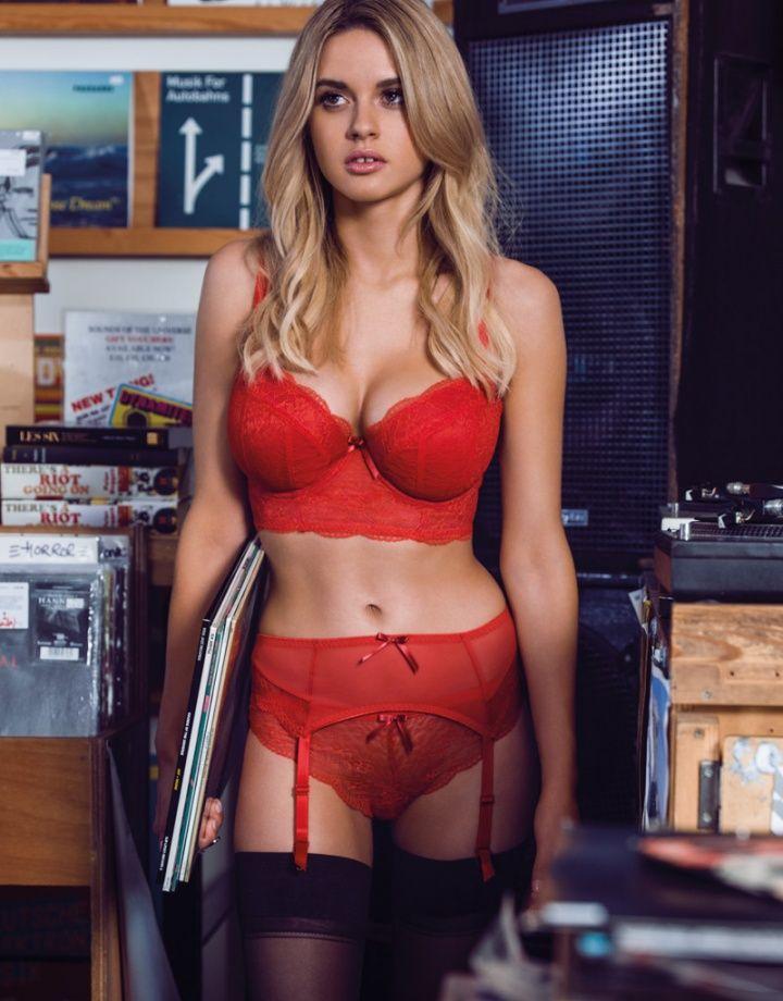 5d6b0539ef7ea NEW FREYA Fancies Underwired Longline Padded Bra 32F RED  Freya  Longline  Lingerie Sleepwear