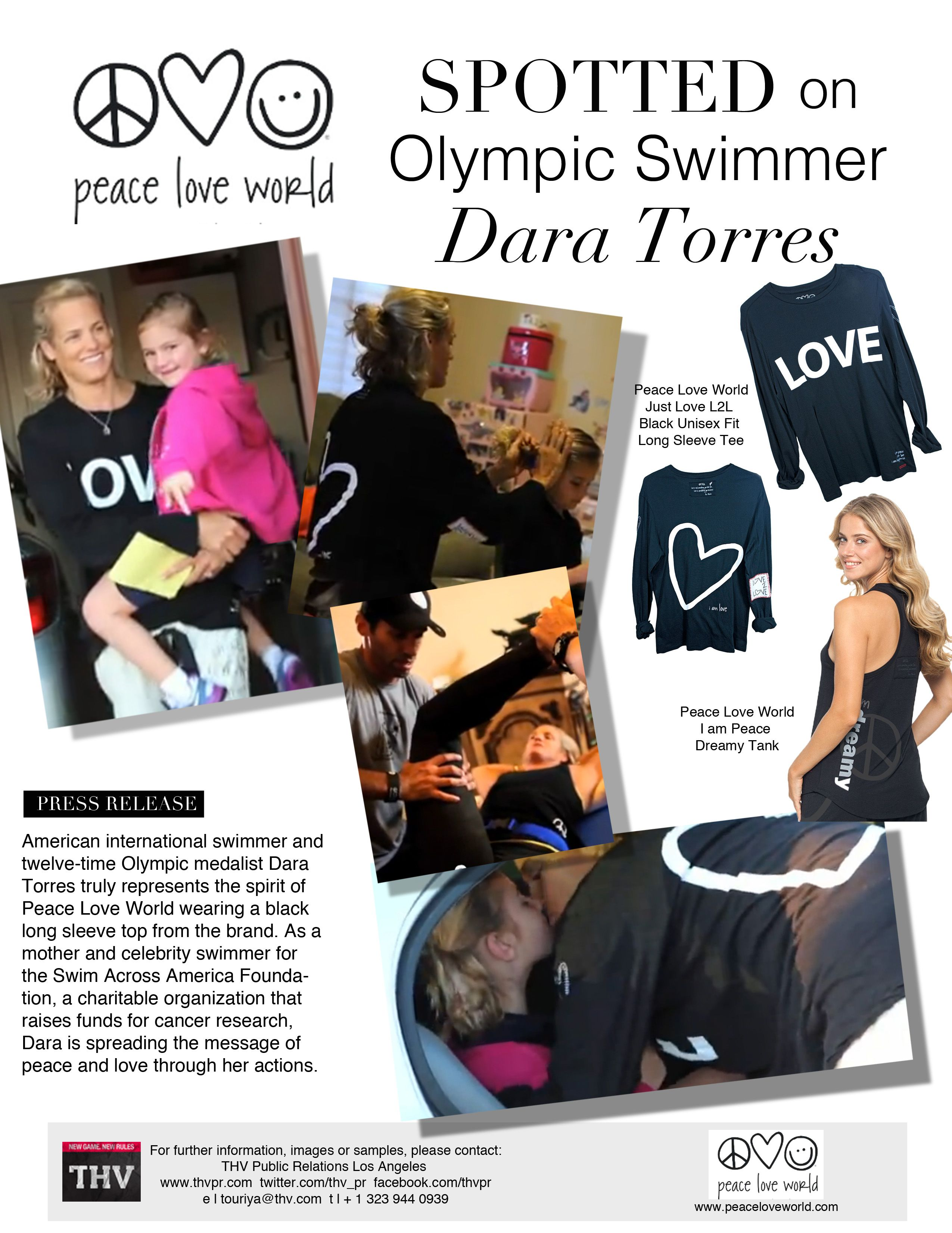 Olympic Swimmer Dara Torres Spotted With Her Daughter Wearing A Peace Love World Top From The