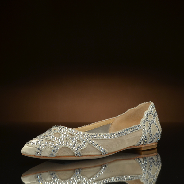 Champagne Wedding Shoes Pointy Toe Rhinestone Flats For