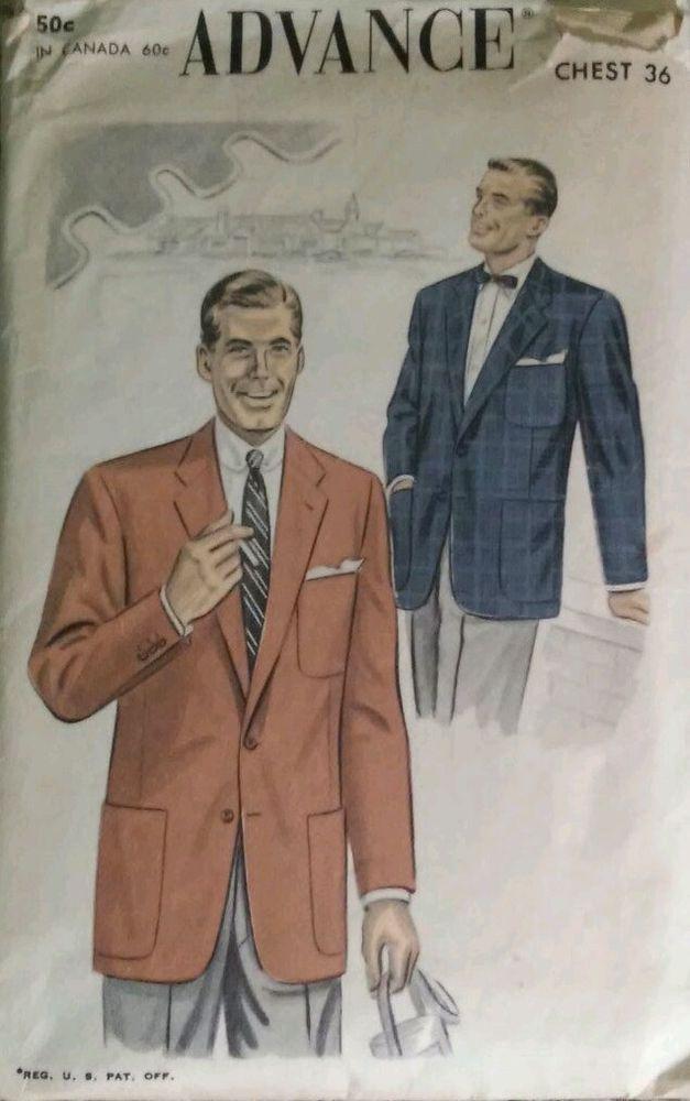 c0ba25f0ef8 Vintage 1940s-1950s Men's Sports Jacket Sewing Pattern   Vintage ...