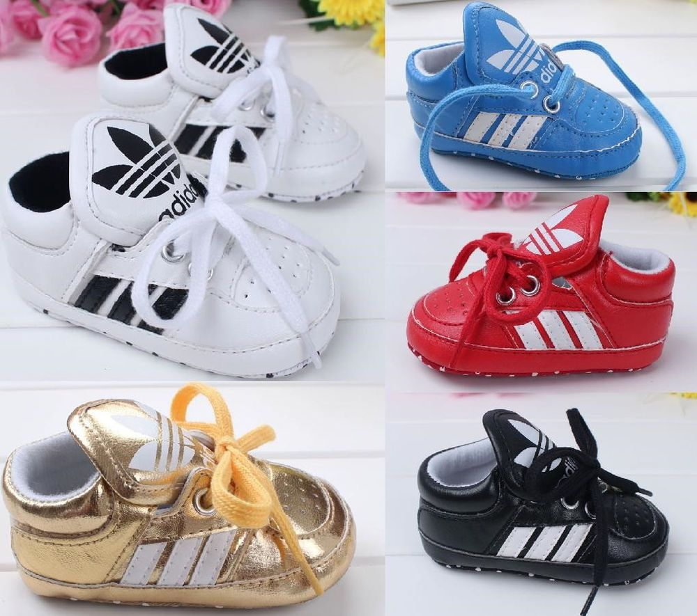 4640702349f7 NEW ADIDAS Soft Sole Baby Boys Girls Laced Sneakers Soccer Crib Shoes 0-18M  #adidas #CribShoes