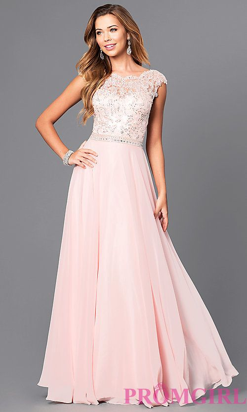78b5b58115 Image of long pastel prom dress with illusion-lace bodice. Style: DQ-9675  Front Image