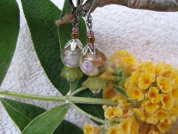 Earrings  Lampwork Pink & Celery Green Flower by molliebrown, $8.50