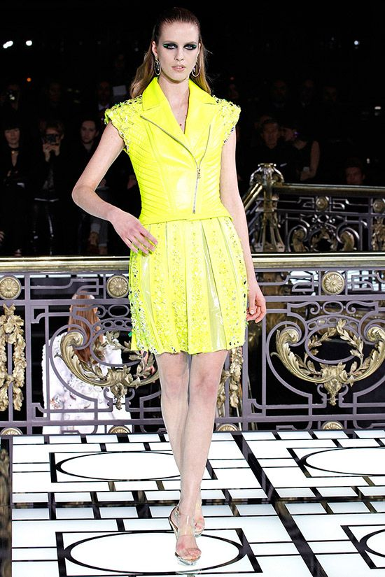 Neon Color  Biker Jacket Trend for Spring Summer 2013.  Versace Couture  Spring Summer 2013  #Trendy #Fashion