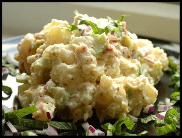 Creamy Potato Salad Bacon Bits Another Recipe For Baked Potato Salad Use Sour Cream Cheese Potatoe Salad Recipe Summer Side Dishes Recipes Creamy Potato