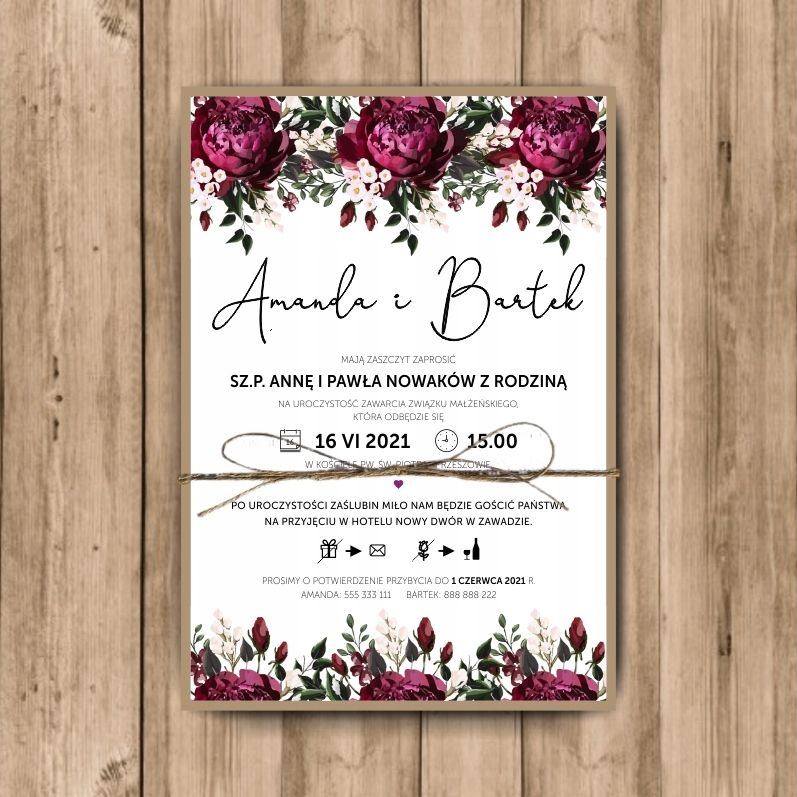 Zaproszenia Slubne Rustykalne Z Dratwa Koperta Eko Wedding Helpers Invitations Place Card Holders