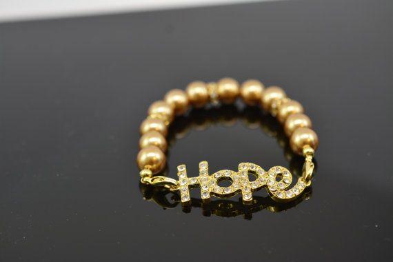 Hope Gold Rhinestone Beaded Bracelet by SLKDesignsBoutique on Etsy